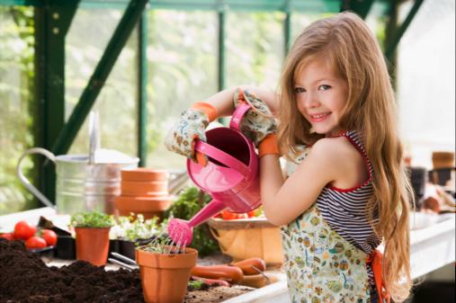Young girl gardening
